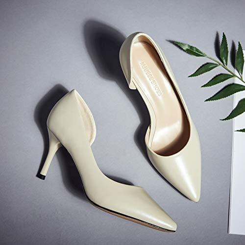 Hrcxue tacco a spillo tacco a spillo donna nero a punta tacco alto femminile stivaletto da lavoro professionale scarpe da donna selvagge con una sola scarpa, 35, albicocca (pelle 7 cm)