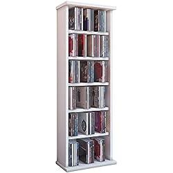 VCM Tour CD/DVD Vostan pour 150 CDs, Imitation Structure Bois, Blanc, 88x31x18 cm