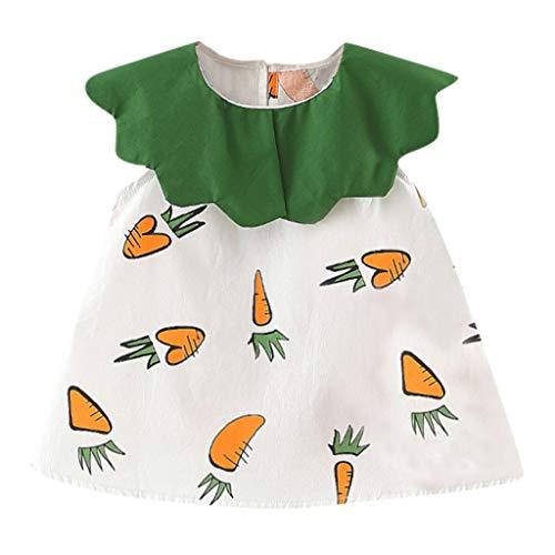 YpingLonk Ärmelloses, gekräuseltes Kinderkragen-Prinzessinnenkleid mit Umhängetasche Kleinkind Baby Kinder Mädchen Karotten Rüschen Patchwork Kleidung