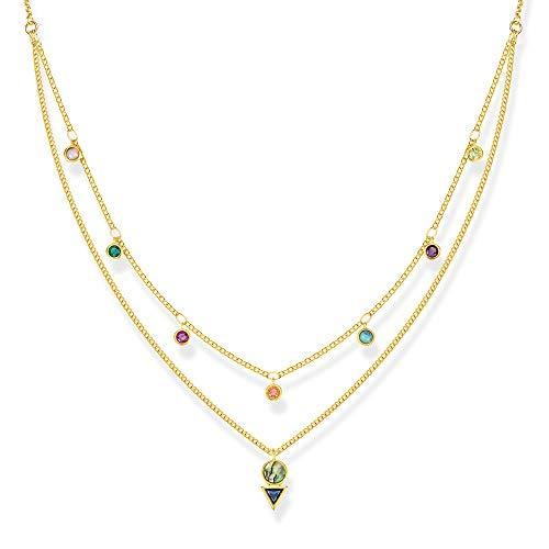THOMAS SABO Damen Kette Farbige Steine 925er Sterlingsilber; 750er Gelbgold Vergoldung KE1844-993-7