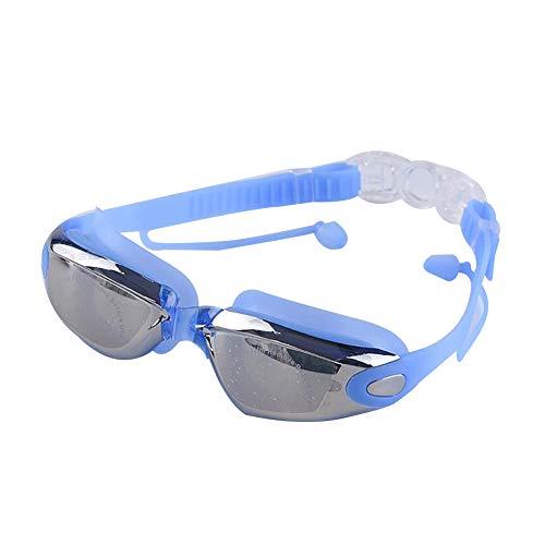 Wasserdicht Schwimmbrille Mirrored reinigen Anti-Fog UV-Schutz für Erwachsene Kinder Schwimmen Triathlon Ausrüstung Blau Plating Objektiv 1PC