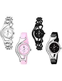 Swadesi Stuff Black & White Color Diamond Studded Dial Analog Watch for Girls and Women - Combo of 4