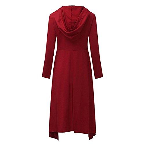 AMUSTER Moda Donne Casual Stile Sciolto Farfallino Camicia Maniche Lunghe Chiffon Abito Abiti Top Rosso