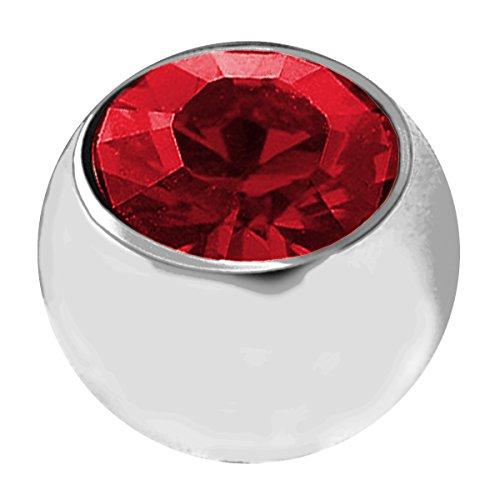 Piersando Schraubkugel Kugel Ersatz Verschlusskugel mit Strass Kristall Labret Lippe Ohr Zunge Nase Augenbraue Intim Bauch Ring Bauchnabel Mund Piercing 1,6mm x 3mm Silber Rot