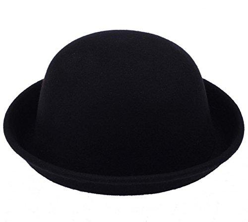 Lukis Fancyland 1 Stk. Unisex Melone Mütze Filz Hut Filzhut Bowler Chaplin Hat Reithut (Schwarz-8)