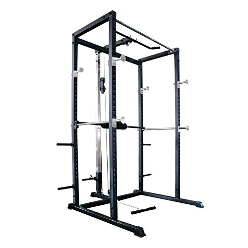 Primal Strength, power rack di base, per la casa, con lat pulldown e low row, colore nero opaco