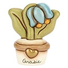 Idea Regalo - THUN - Vasetto Soprammobile con Fiore campanella - Grazie - Formato Piccolo - Ceramica - h 6,2 cm
