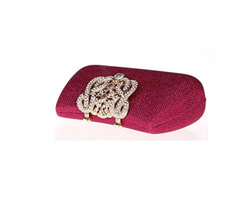 GSHGA Abend-Kupplungs-Hand Womems Abend Handtasche Kette Riemen Bankett Pack Diamant Brautjungfer Paket,Gold RoseRed