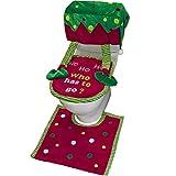 Valery Madelyn Stoff Weihnachten WC Sitzbezug 3 Stücke Toilettendeckel Abdeckung mit Toilettensitzbezug Fußmatten und Tankdeckel für Badezimmer im Elf Dekofigur Design Rot Grün MEHRWEG Verpackung