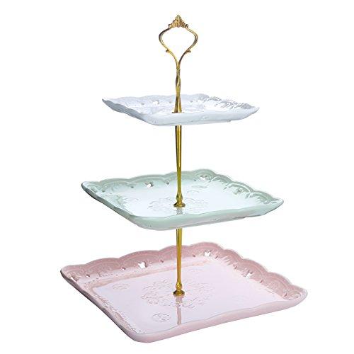 Malacasa, Serie Sweet.Time, Porzellan Etagere 3-stöckig 6,25/8,25/10 Zoll Servierständer Cupcake Ständer Dessert Halter in 3 Farbe