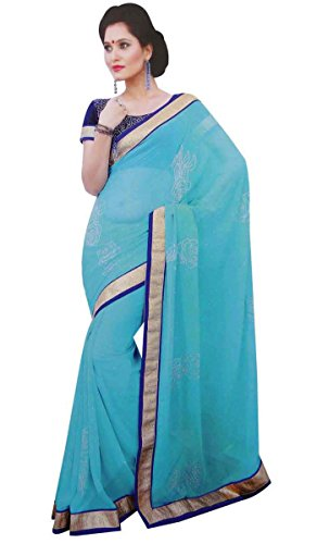Bestickt Georgette Eleganten Sari Sari Indischen Kostüm Ethnischen Frauen Tragen Sari