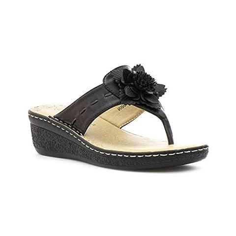 Softlites Womens Black Comfort Toe Post Sandal - Size 6 - Black