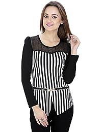 SVT ADA COLLECTIONS Poly Crepe Black N White Designer Partywear Women TOP (052302_Black_Medium)