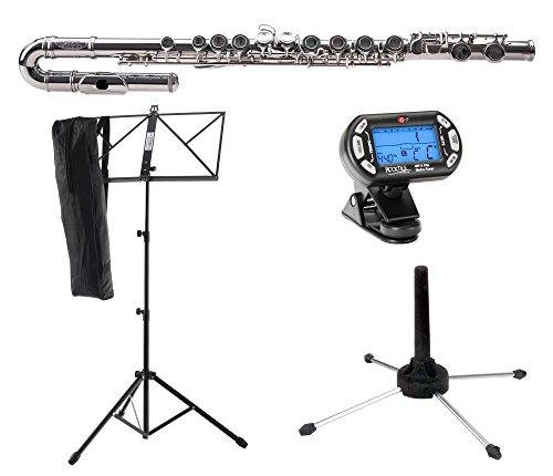 Classic Cantabile FL-100J Querflöte Starter-Set (Tolles Einsteigerinstrument, ein gebogenes, ein gerades Kopfstück, inkl. Notenständer, Stimmgerät mit Metronom, Flötenständer, Etui, Zubehör) Silbern