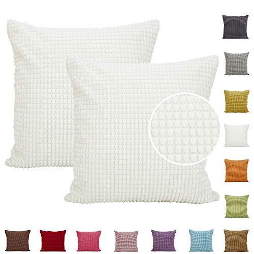 Comoco 2pcs Einfarbig Big Corn Striped dicken Cord Dekorative Kissenbezug für Sofa in 15 Farben und 7 Größen (45x45cm, Off White)