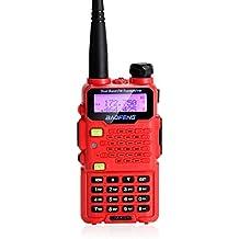 AGPtek decision de la UE de Baofeng UV-5R5 de doble banda UHF / VHF walkie talkie 5W transceptor de radio con la version actualizada del auricular con doble radio banda 136-174 / 400-470MHz (una pieza) (Rojo)
