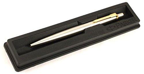 Parker Jotter SS Stahl GT Kugelschreiber (Gold Trim) + feine Quink blau Tinte + NEU