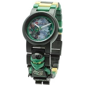 LEGO Ninjago 8020554 Sky Pirates Lloyd Kinder-Armbanduhr mit Minifigur und Gliederarmband zum Zusammenbauen| grün/schwarz| Kunststoff| analoge Quarzuhr| Junge/Mädchen| offiziell