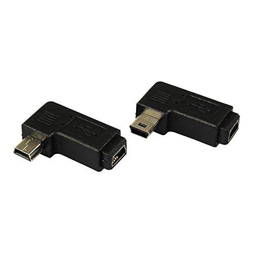 com-four® 2X USB Typ B Mini 5 Pin Stecker auf Mini Buchse 90° Links und rechts gewinkelt (02 Stück - Mix) (Computer-monitor-rückspiegel)