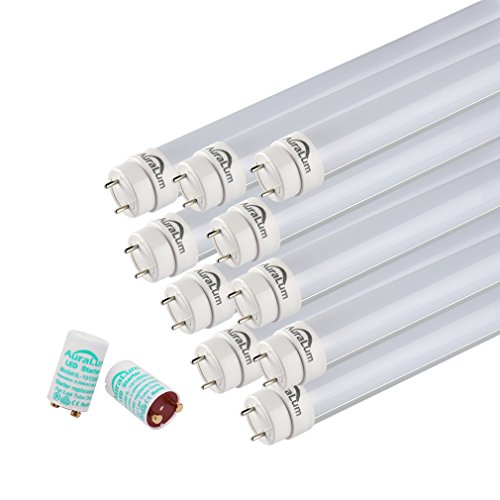Preisvergleich Produktbild 10er Auralum® 2 Jahre Garantie 60cm 10W T8 G13 LED Leuchtstoffröhre Warmweiß 2800~3200K 2835*60LED 1085LM mit der Milchweißen Abdeckung inkl. LED Starter Ersetzt 18W Gasröhre