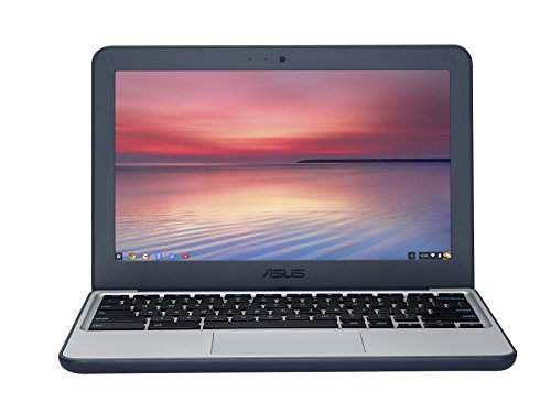ASUS C202SA-GJ0027 11.6-inch Chromebook Ruggedised and Water Resistant Design with 180 degree Hinge (Silver/Blue) - (Intel Celeron N3060 Processor, 2 GB RAM, 16 GB eMMC, Chrome OS)