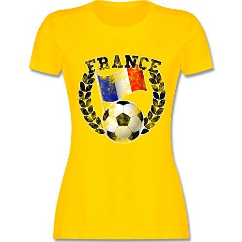 EM 2016 - Frankreich - France Flagge & Fußball Vintage - tailliertes Premium T-Shirt mit Rundhalsausschnitt für Damen Gelb