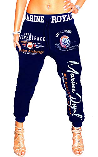 Damen Jogginghose Traininghose Hose 100% Baumwolle Sweatpants Fitness Training Marine Royal H.512 (Navy, 4XL (48))