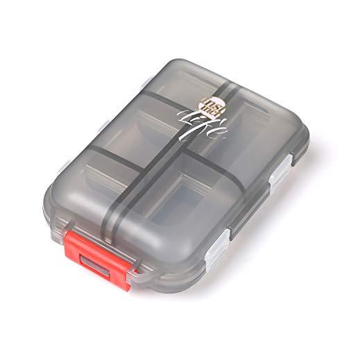 Daimay Organizador Portátil de Viajes Pastillero Dispensador de Bolsillo Recordatorio de medicamentos y Recetas Envase de Tornillos de Joyería - 10 Compartimentos - Translúcido Negro