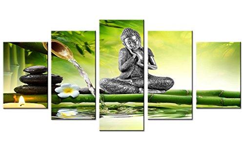 "Amosi Art Leinwandbild, 5-teilig, Buddha-Statue, Kunstdruck, Orchidee, Bambus-Hintergrund, für Heimdekoration, Wandbild gespannt, gerahmt, Green(overall:80\""x40\"")"