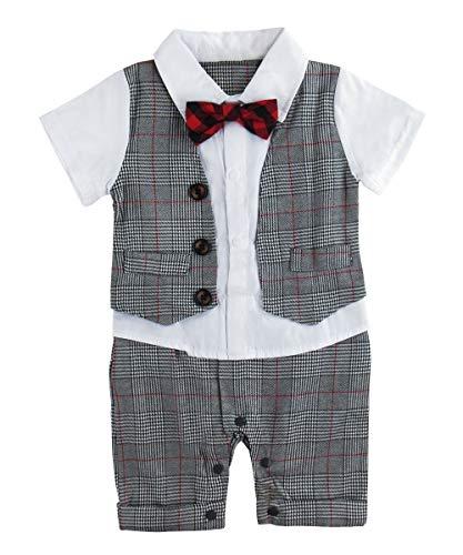 A&J DESIGN Baby Junge Party Outfits Karierte Hemden mit Fliege (Grau-2, 6-9 Monate)