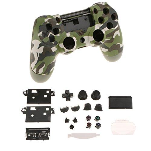 Homyl 14 Tasten Ersatz Buttons und Touchpad Für PS4 Controller Kontroller + Schutzhülle + 6pcs Plastikfolien für PS4 Pro Controller - Tarnung