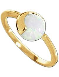 CLEVER SCHMUCK Goldener Ring Größe 56 mit Opal rund Ø 8 mm glänzend 375 GOLD 9 KARAT