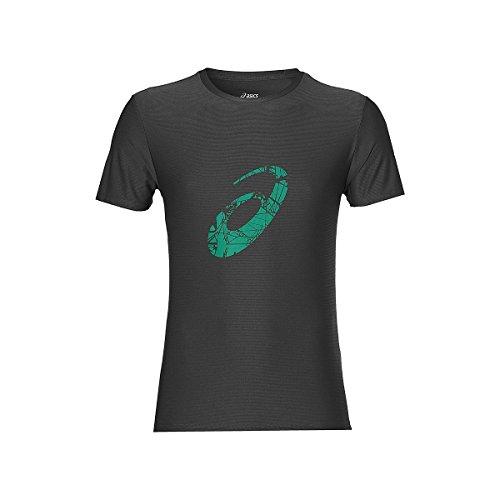 Asics Graphic SS T-Shirt, Herren Grau (dunkelgrau / jungle green)