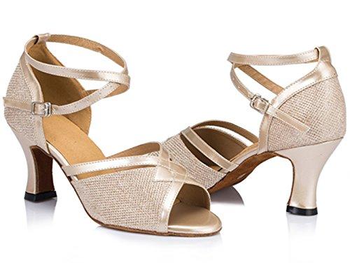 Dayiss Damen Tanzschuhe Standard & Latein Ballsaal Tango mit Absatz Brautschuhe 4 Farben Champagner