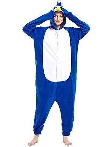 Honeystore Unisex Pinguin Kostüm Erwachsene Tier Jumpsuits Onesie Pyjamas Nachthemd Nachtwäsche Cosplay Overall Hausanzug Fastnachtskostüm Karnevalskostüme Faschingskostüm Kapuzenkostüm (Last Minute Einfach Zu Halloween Kostüme Machen Für Erwachsene)