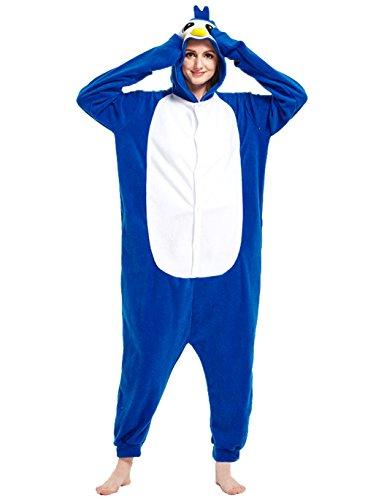 Honeystore Unisex Pinguin Kostüm Erwachsene Tier Jumpsuits Onesie Pyjamas Nachthemd Nachtwäsche Cosplay Overall Hausanzug Fastnachtskostüm Karnevalskostüme Faschingskostüm Kapuzenkostüm BlauL