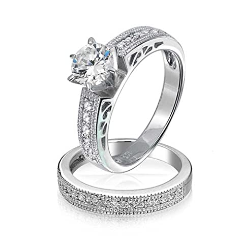 Round Solitaire CZ Pave Band Antique Style Anniversary Wedding Ring Set 925 Silver