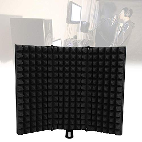 Microfono isolante, microfono Pop Filter professionale Vocal Booth/Reflexion filtro regolabile microfono acustico Isolation Shield con treppiede per Recording Studio Vocal Microfono