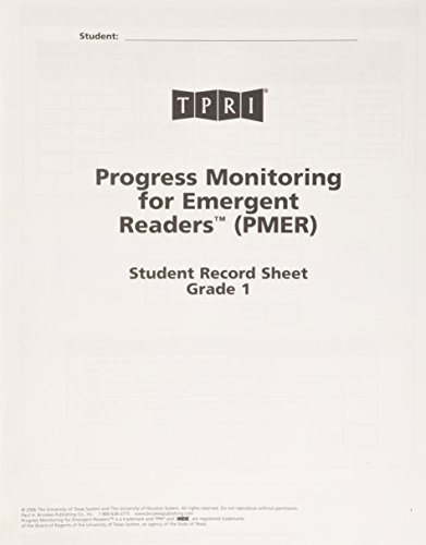 PMER Student Record Sheets: Grade 1 by Brookes Publishing co (2011-07-30)