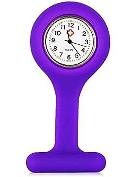 TRIXES Taschenuhr Uhr für Krankenschwestern Silikon mit Anstecknadel Violett