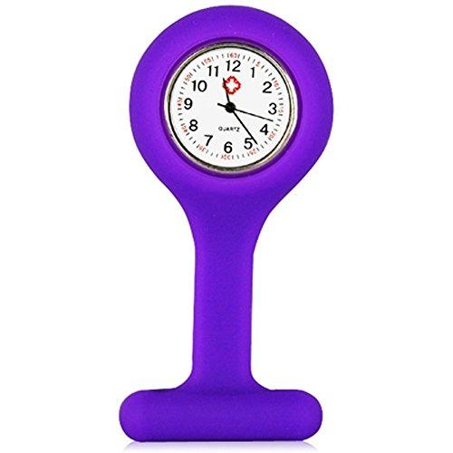 (Trixes Taschenuhr Uhr für Krankenschwestern Silikon mit Anstecknadel Violett)