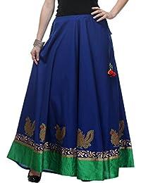 NIKA Women's Cotton Hand Block Printed Long Skirt (KNA-2029, Blue, Free Size)