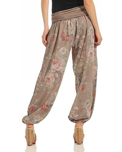 ZARMEXX Damen Pumphose Pluderhose Harem-Stil Sommerhose all over Print Freizeithose Aladinhose Hose One Size Blumen-cappuccino