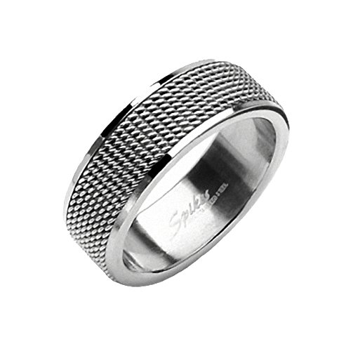 Silber-band-ring Für Männer (Mianova Unisex Band Ring Edelstahl Ketten Screen Bandring Freundschaftsring Herrenring Damenring Partnerring Damen Herren Silber Größe 68 (21.6))