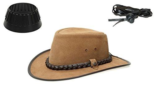 BC BacPac Traveller Hat - Outback Edition - Bark Suede Gr. XL (59-60) + Hutablage & Kinnriemchen - Stetson Buffalo
