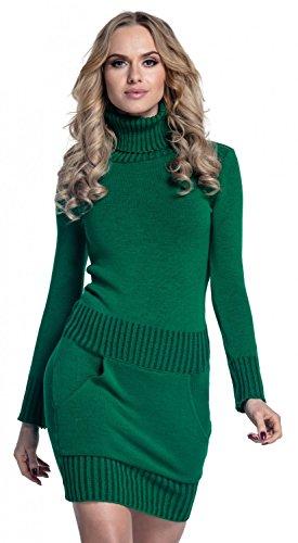 Glamour Empire. Damen Strickkleid Minikleid mit Stehkragen und Tasche vorne. 178 (Grün, EU 36/38, ONE SIZE)