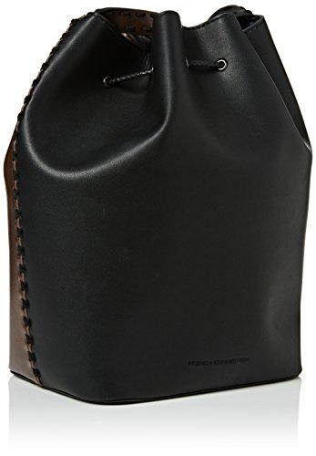 French ConnectionRobyn Whipstitch Bucket Bag - Borse a Tracolla donna Nero (Black (Blk/Ptchwrksnk/Bordx))