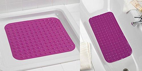 Wenko Wannen-und Duscheinlagen-Set Tropic Purple - Duschmatte Lila - Duscheinlage - Badewanneneinlage - Badteppich - Badematte - Wanneneinlage