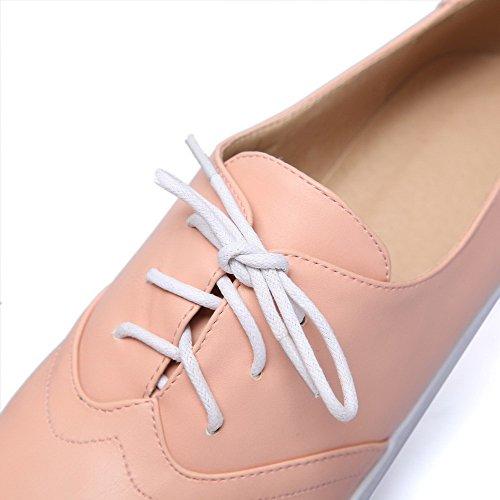AllhqFashion Damen Schnüren Niedriger Absatz Pu Leder Rein Rund Zehe Pumps Schuhe Pink