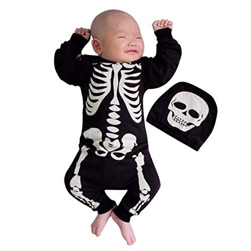 Culater 2018 ❤️❤ Halloween Costume Cosplay della Bambina Bone Print Pagliaccetto Abiti Clothes (18-24 Mesi, Nero)